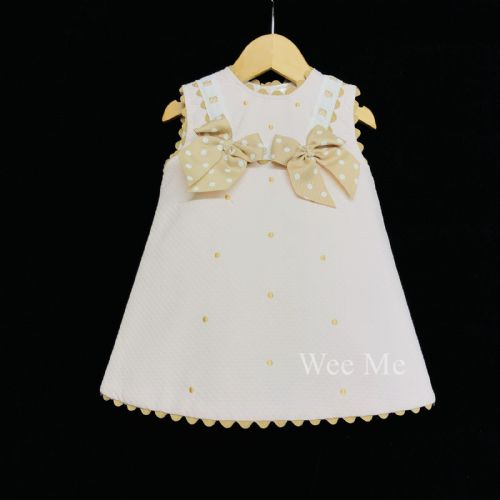 *New Arrival* Gorgeous Baby Girl Pink Spanish A Line Dress Tan Polka Dots
